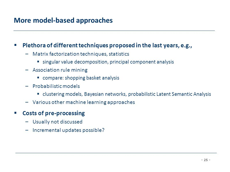 More model-based approaches