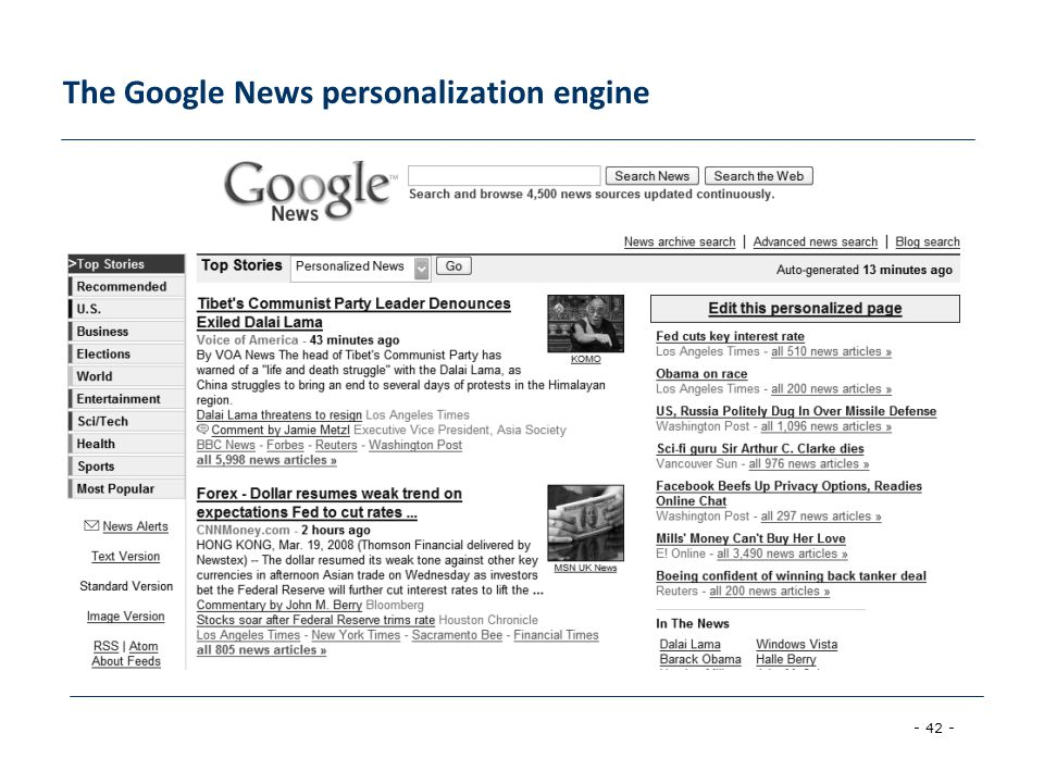 The Google News personalization engine