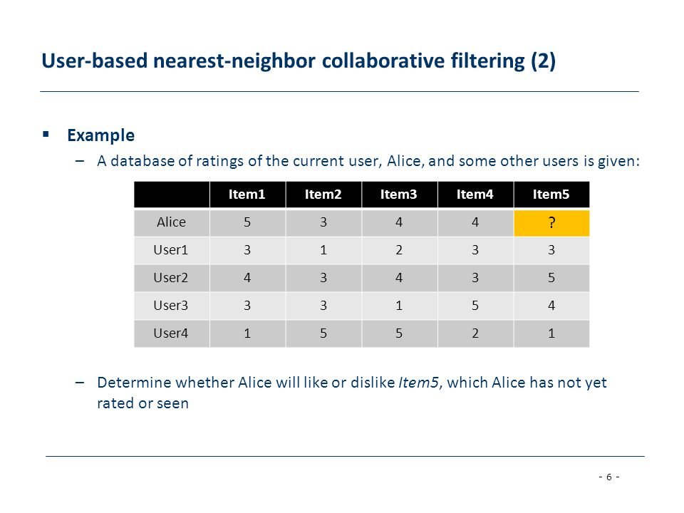 User-based nearest-neighbor collaborative filtering (2)
