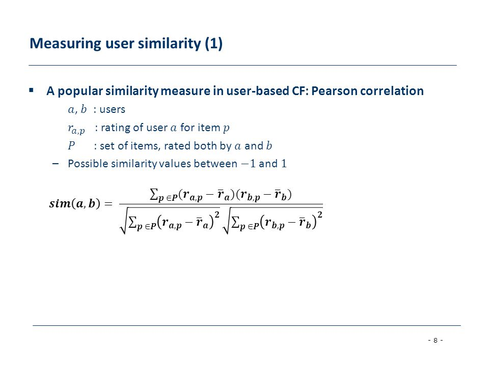 Measuring user similarity (1)