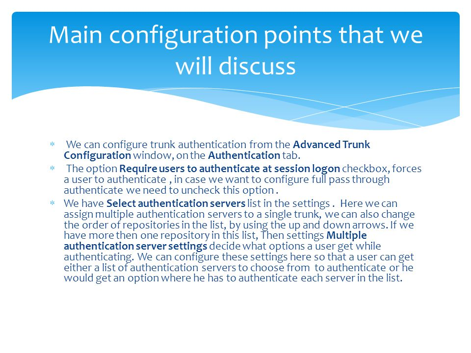 Main configuration points that we will discuss