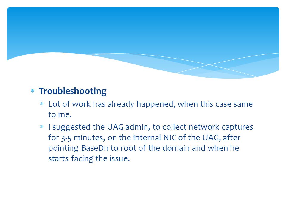 Troubleshooting Lot of work has already happened, when this case same to me.