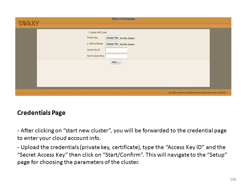 Credentials Page - After clicking on start new cluster , you will be forwarded to the credential page to enter your cloud account info.