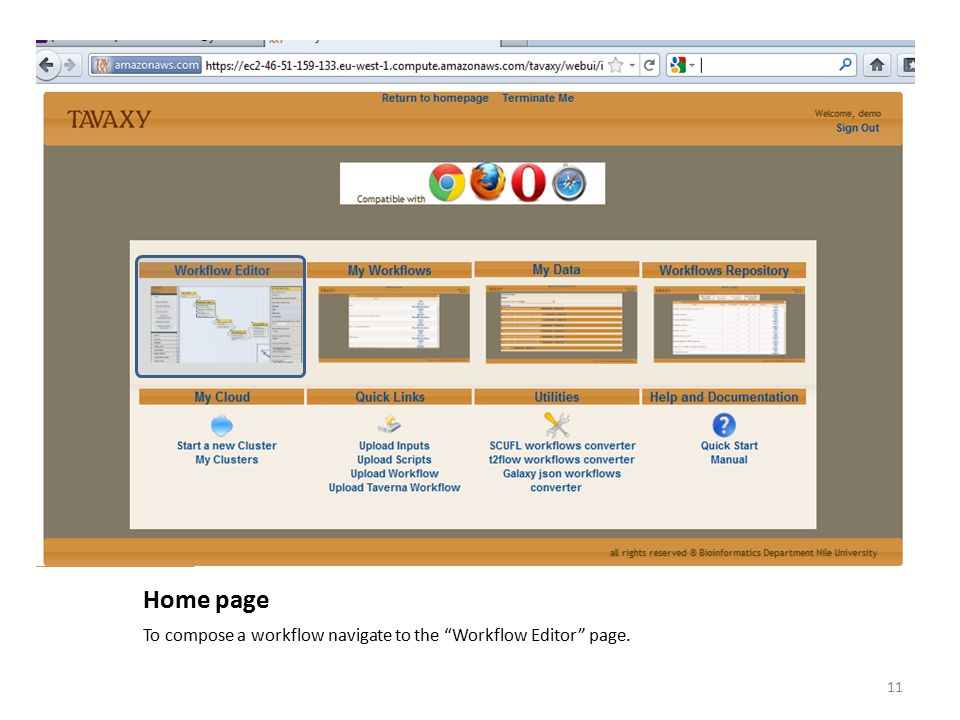 Home page To compose a workflow navigate to the Workflow Editor page.
