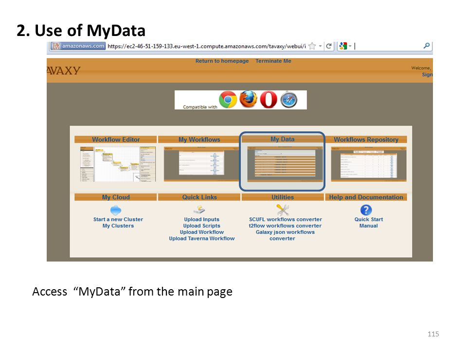 Access MyData from the main page