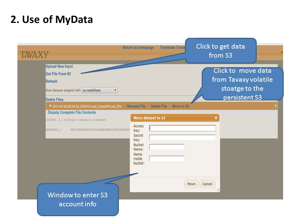 2. Use of MyData Click to get data from S3