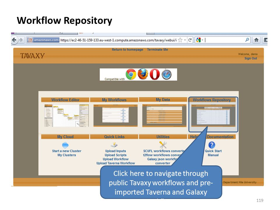 Workflow Repository Click here to navigate through public Tavaxy workflows and pre-imported Taverna and Galaxy workflows.