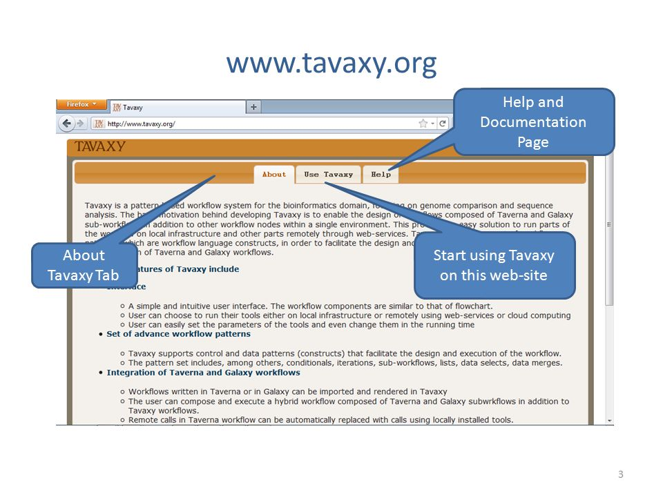 www.tavaxy.org Help and Documentation Page
