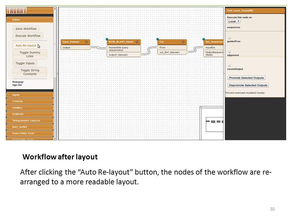 Workflow after layout After clicking the Auto Re-layout button, the nodes of the workflow are re-arranged to a more readable layout.