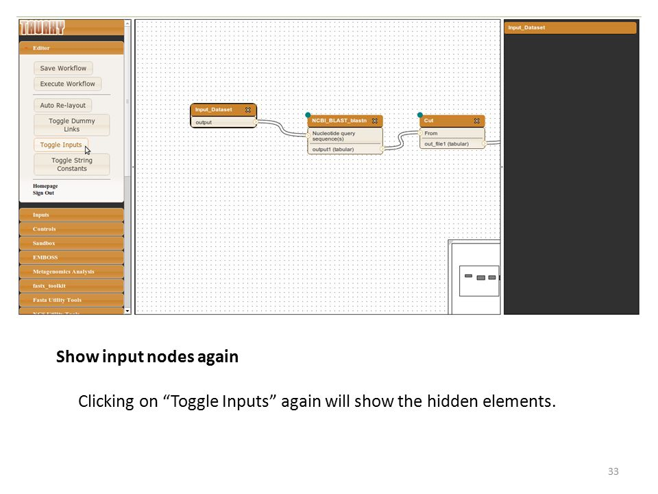 Show input nodes again Clicking on Toggle Inputs again will show the hidden elements.