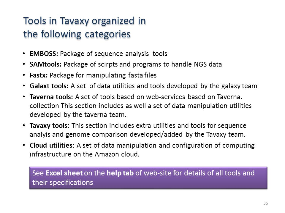 Tools in Tavaxy organized in the following categories