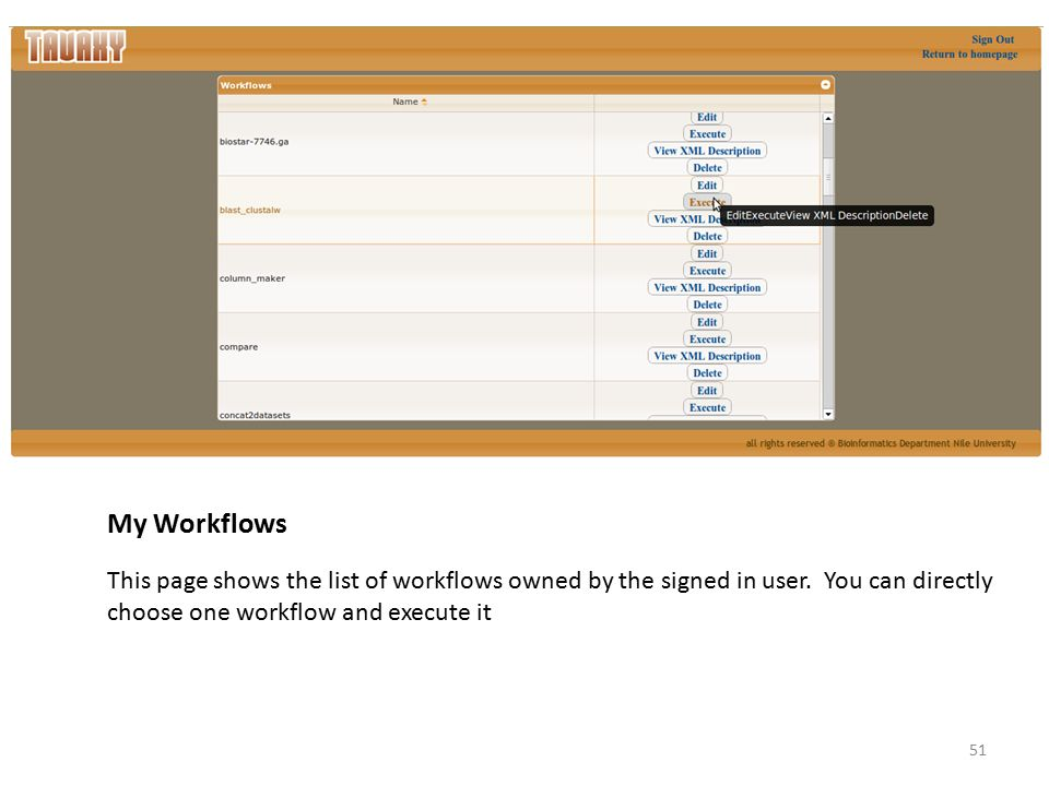 My Workflows This page shows the list of workflows owned by the signed in user.
