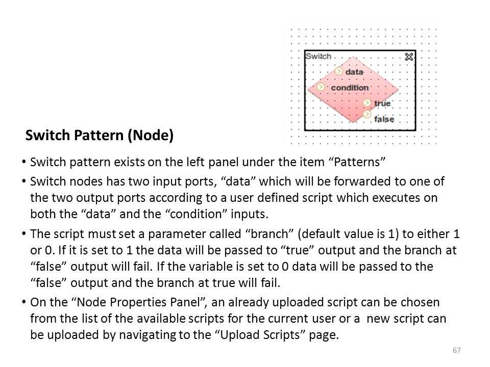 Switch Pattern (Node) Switch pattern exists on the left panel under the item Patterns