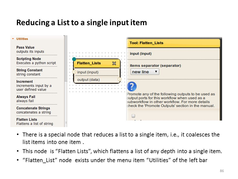 Reducing a List to a single input item