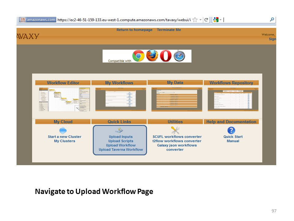 Navigate to Upload Workflow Page