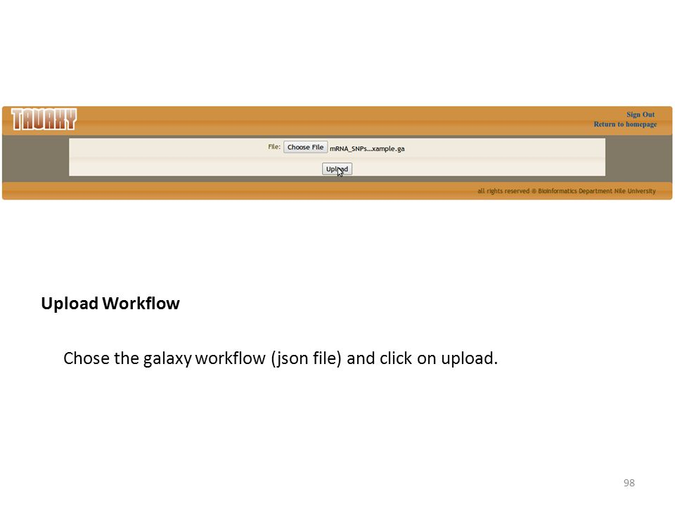 Upload Workflow Chose the galaxy workflow (json file) and click on upload.