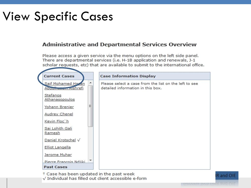 View Specific Cases