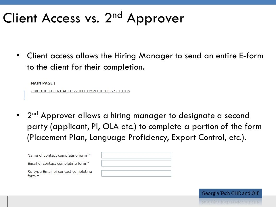 Client Access vs. 2nd Approver