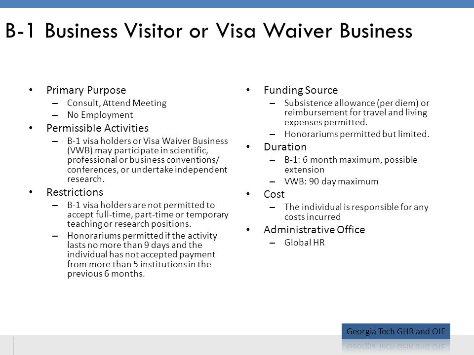 B-1 Business Visitor or Visa Waiver Business