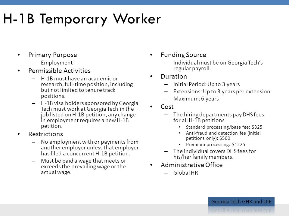 H-1B Temporary Worker Primary Purpose Permissible Activities