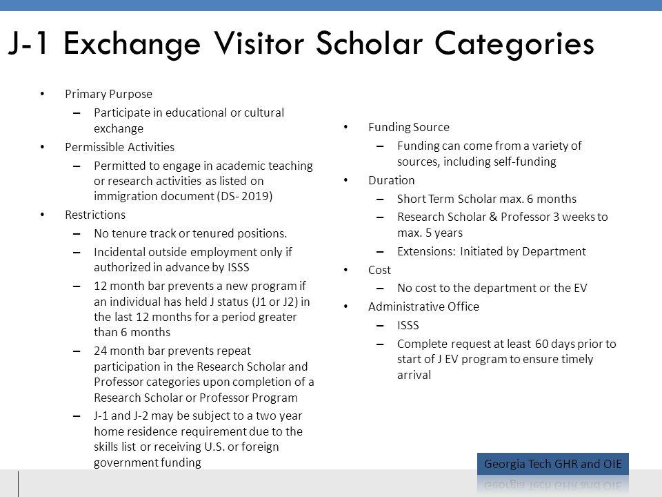 J-1 Exchange Visitor Scholar Categories