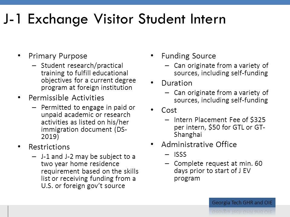 J-1 Exchange Visitor Student Intern