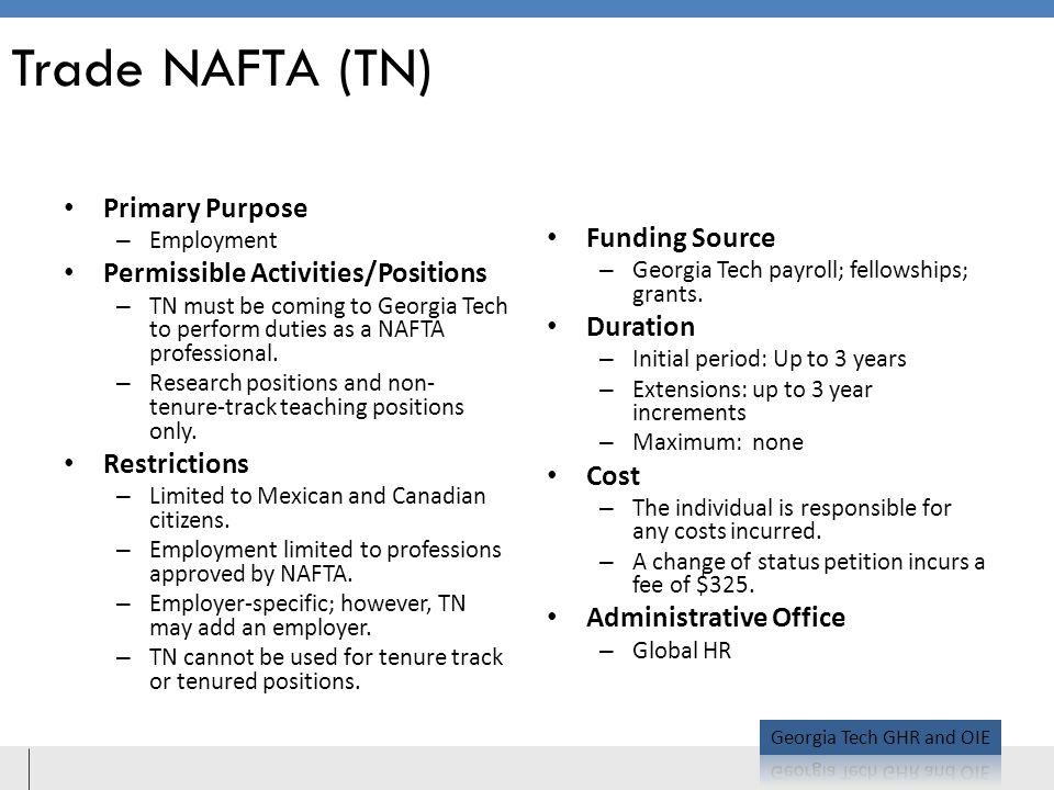 Trade NAFTA (TN) Primary Purpose Funding Source