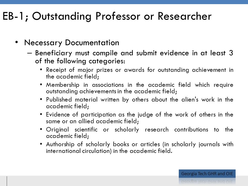 EB-1; Outstanding Professor or Researcher