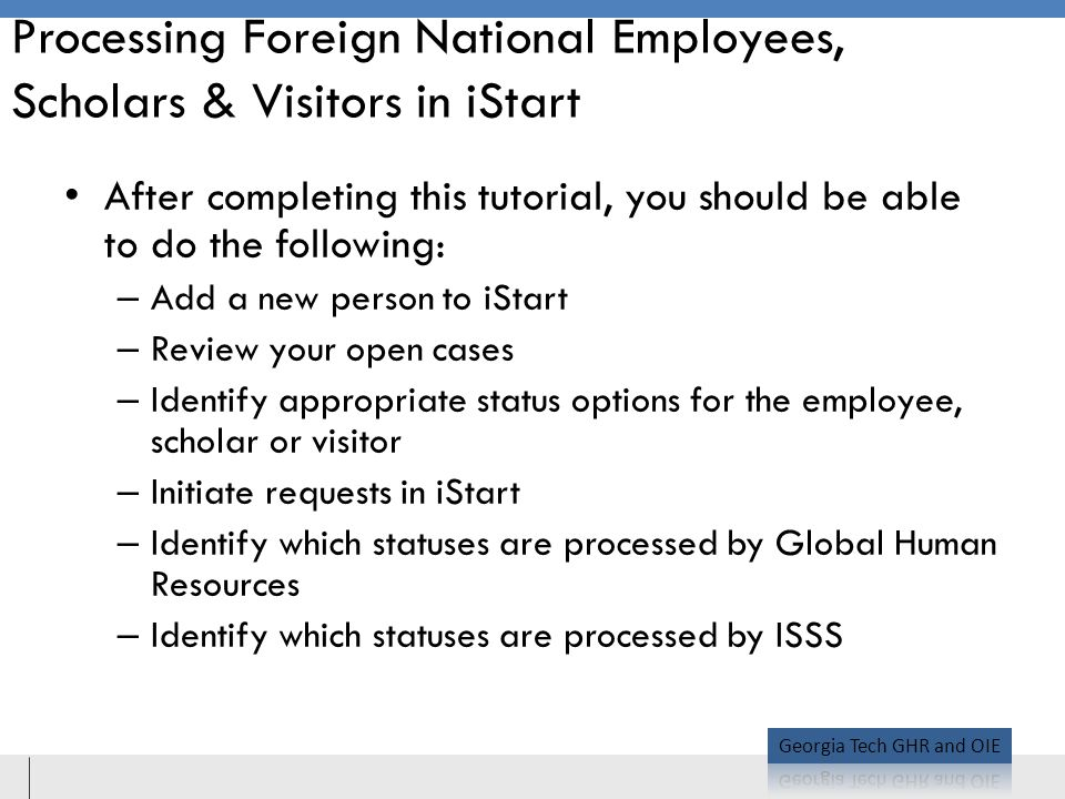 Processing Foreign National Employees, Scholars & Visitors in iStart