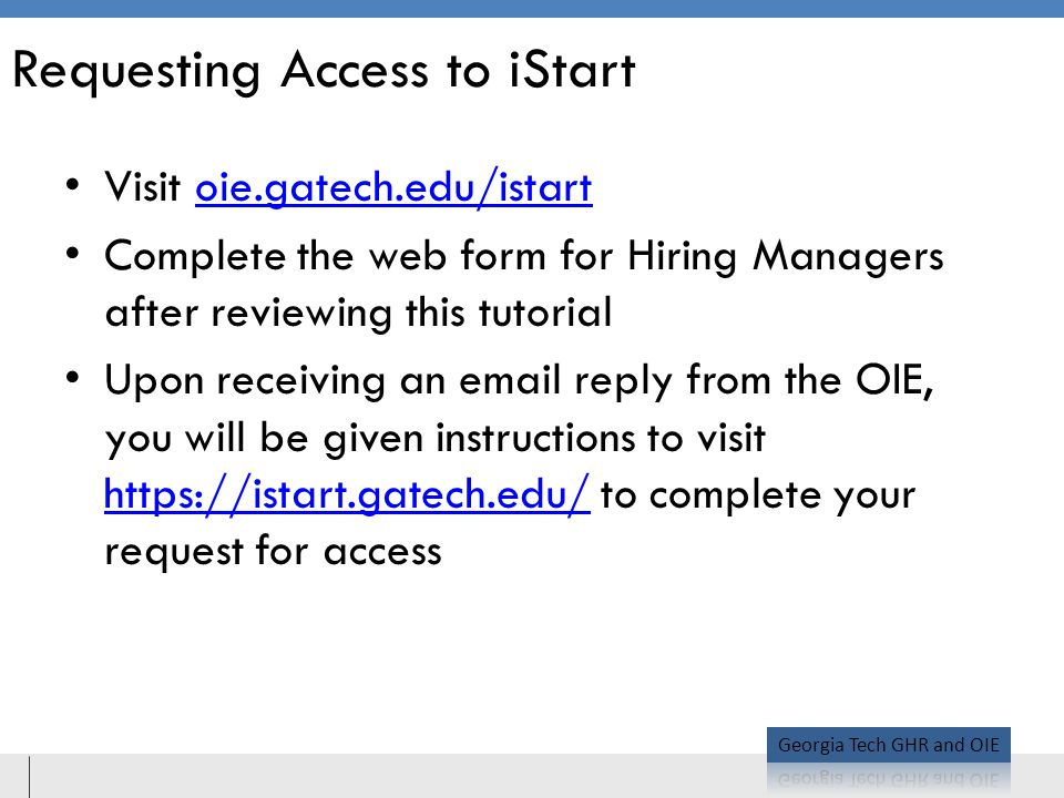 Requesting Access to iStart