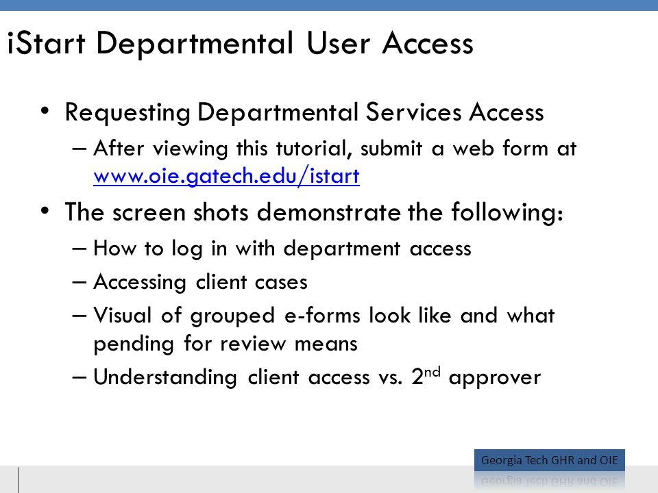 iStart Departmental User Access