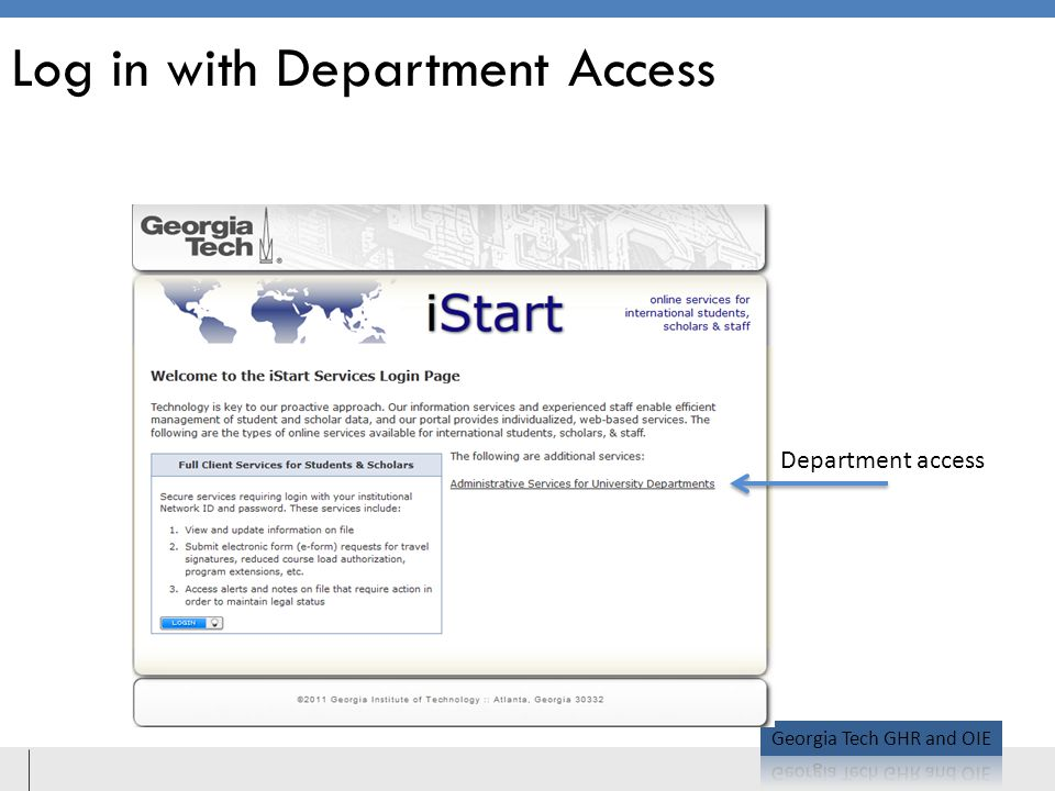 Log in with Department Access