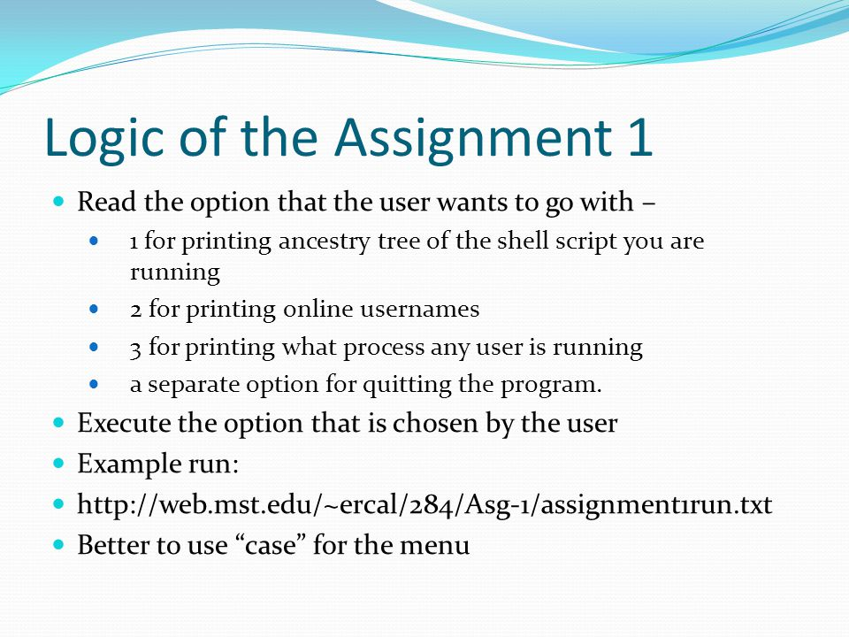 Logic of the Assignment 1