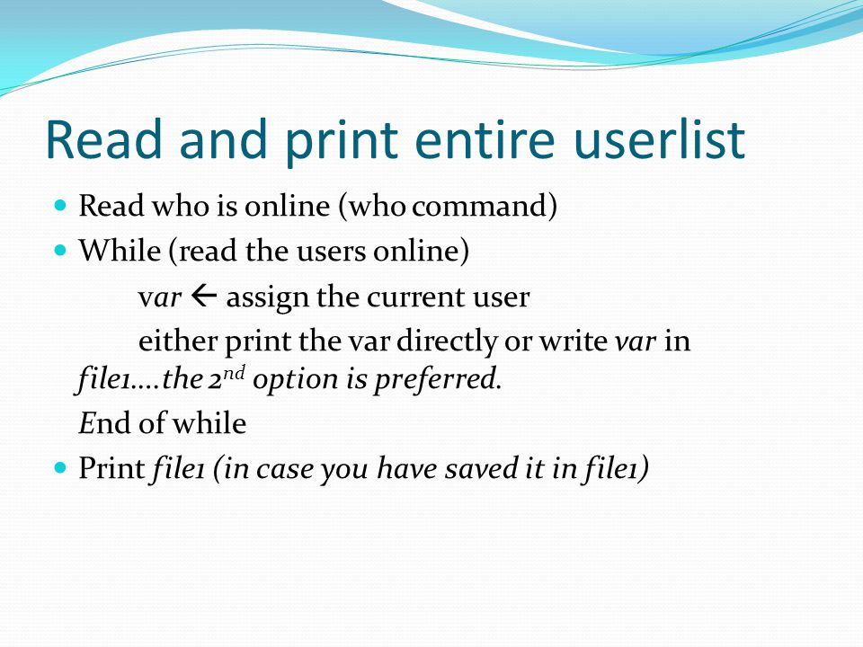 Read and print entire userlist