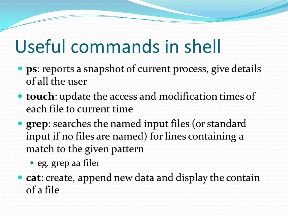 Useful commands in shell