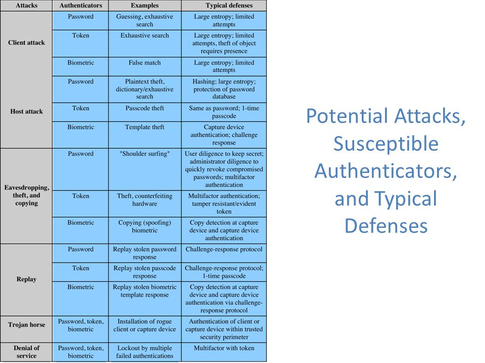Potential Attacks, Susceptible Authenticators, and Typical Defenses