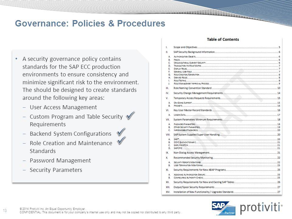 Governance: Policies & Procedures