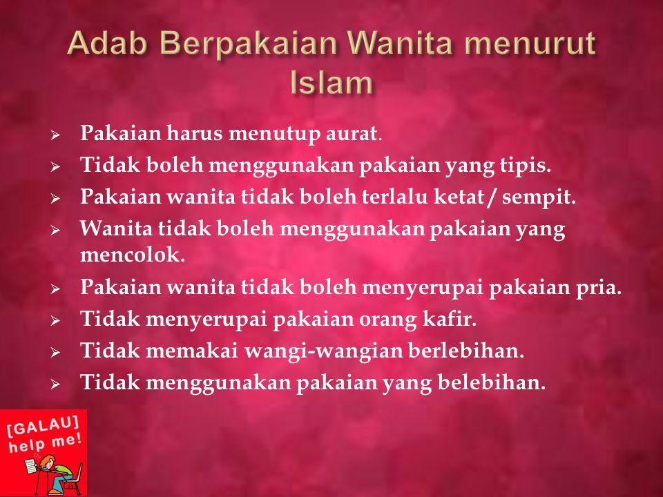 Adab Berpakaian Wanita menurut Islam
