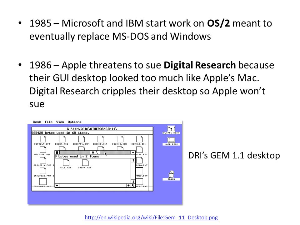 1985 – Microsoft and IBM start work on OS/2 meant to eventually replace MS-DOS and Windows