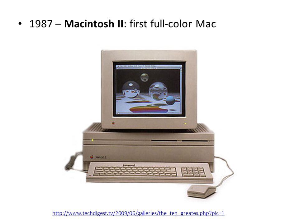 1987 – Macintosh II: first full-color Mac