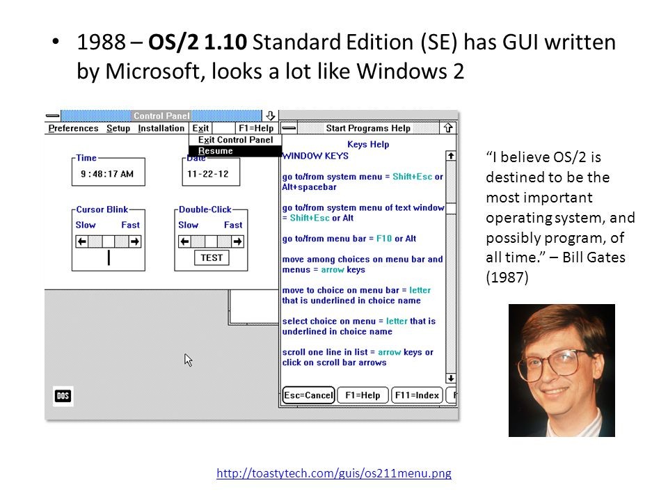 1988 – OS/2 1.10 Standard Edition (SE) has GUI written by Microsoft, looks a lot like Windows 2