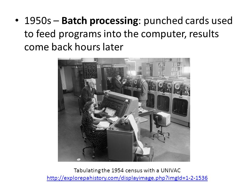 1950s – Batch processing: punched cards used to feed programs into the computer, results come back hours later