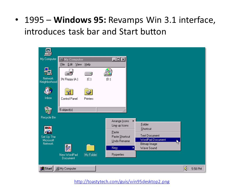 1995 – Windows 95: Revamps Win 3.1 interface, introduces task bar and Start button