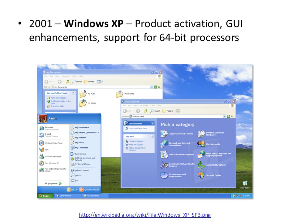 2001 – Windows XP – Product activation, GUI enhancements, support for 64-bit processors