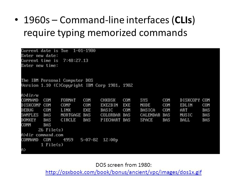 1960s – Command-line interfaces (CLIs) require typing memorized commands