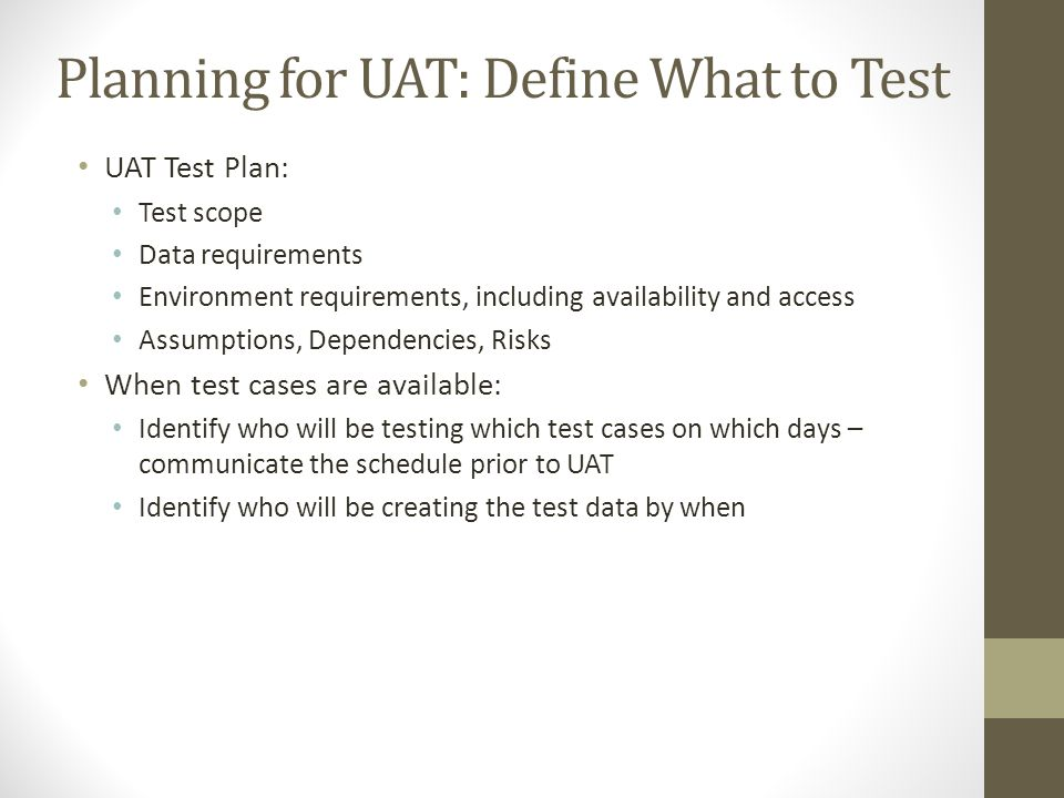 Planning for UAT: Define What to Test