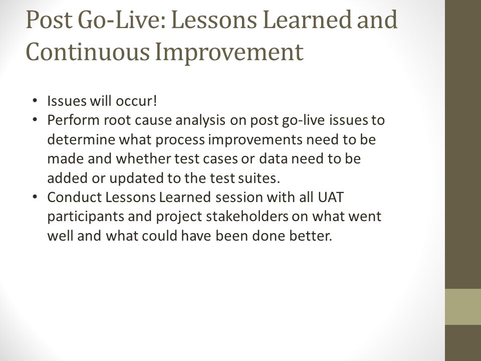Post Go-Live: Lessons Learned and Continuous Improvement