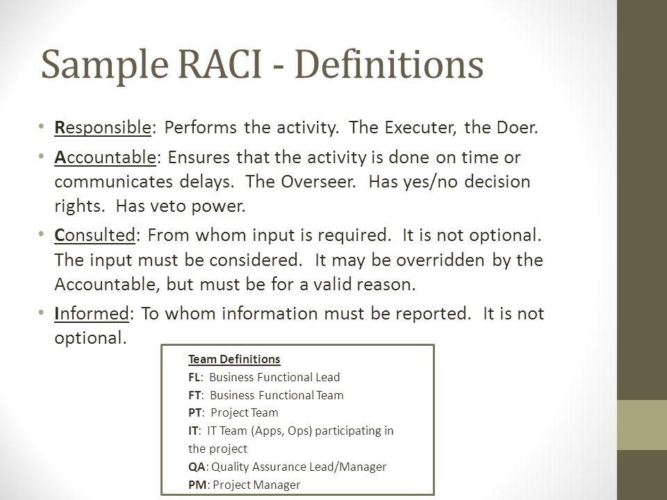 Sample RACI - Definitions