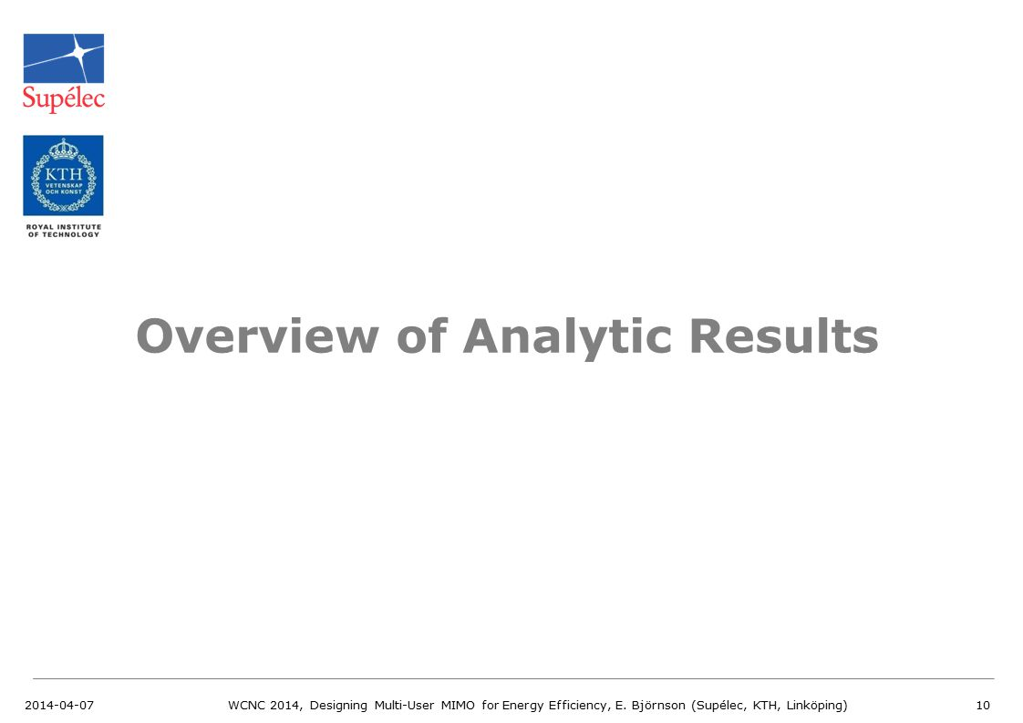 Overview of Analytic Results