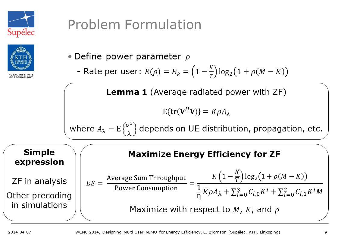 Problem Formulation Define power parameter 𝜌